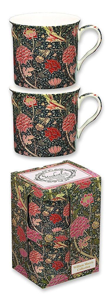 Set of two mugs inspired by William Morris, poet, designer, artist and craftsman. Supplied in a matching colour gift box. £10.00