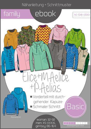 c79589d9c8 Family Ebook Hoodie Elice_MAelice_PAelias - Schnittmuster und Anleitung als  PDF Datei A4 - Viele Ebooks und Papierschnittmuster zum selber nähen!