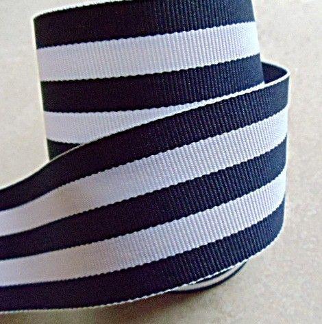 "Classic navy blue and white Taffy striped 1 1/2"" grosgrain ribbon. $1.59, via Etsy.- Love this ribbon!"