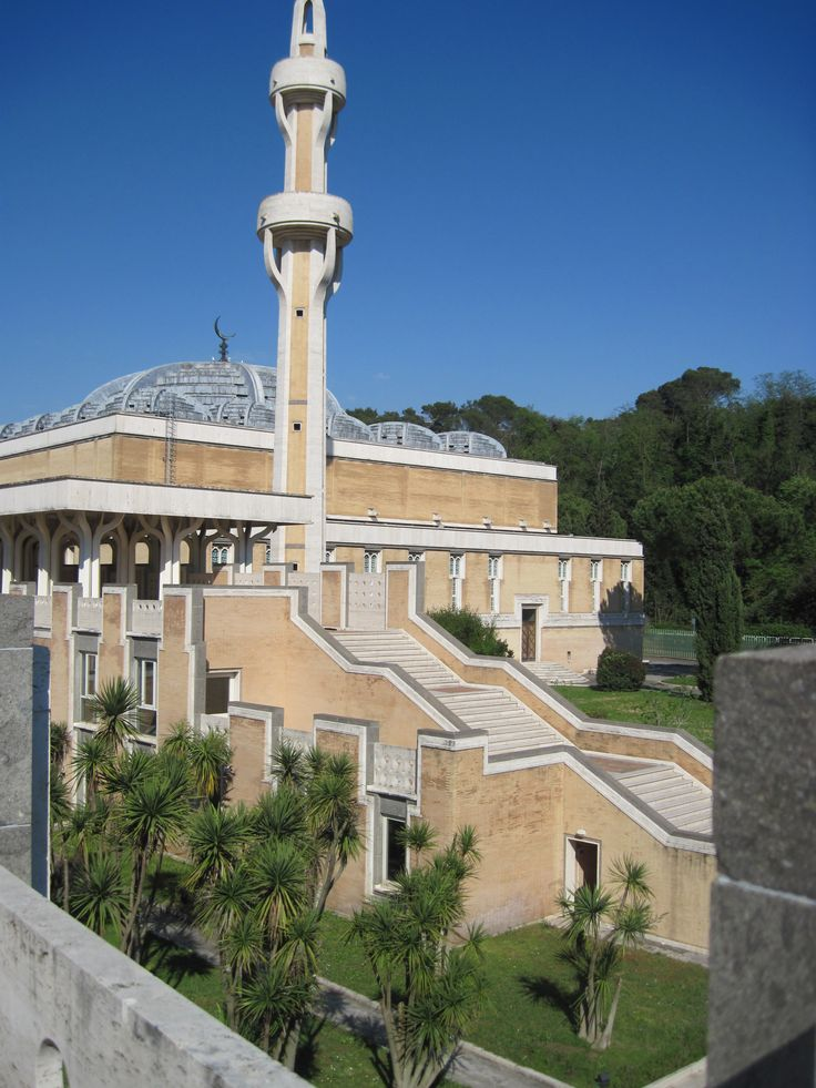 Viale Della Moschea (Islamic Center Italy) in Rome is one of the largest mosque in Europe. Completed in 1994, the mosque has an area of 30,000 sq m and can accomodate up to 12,000 worshippers at any one time