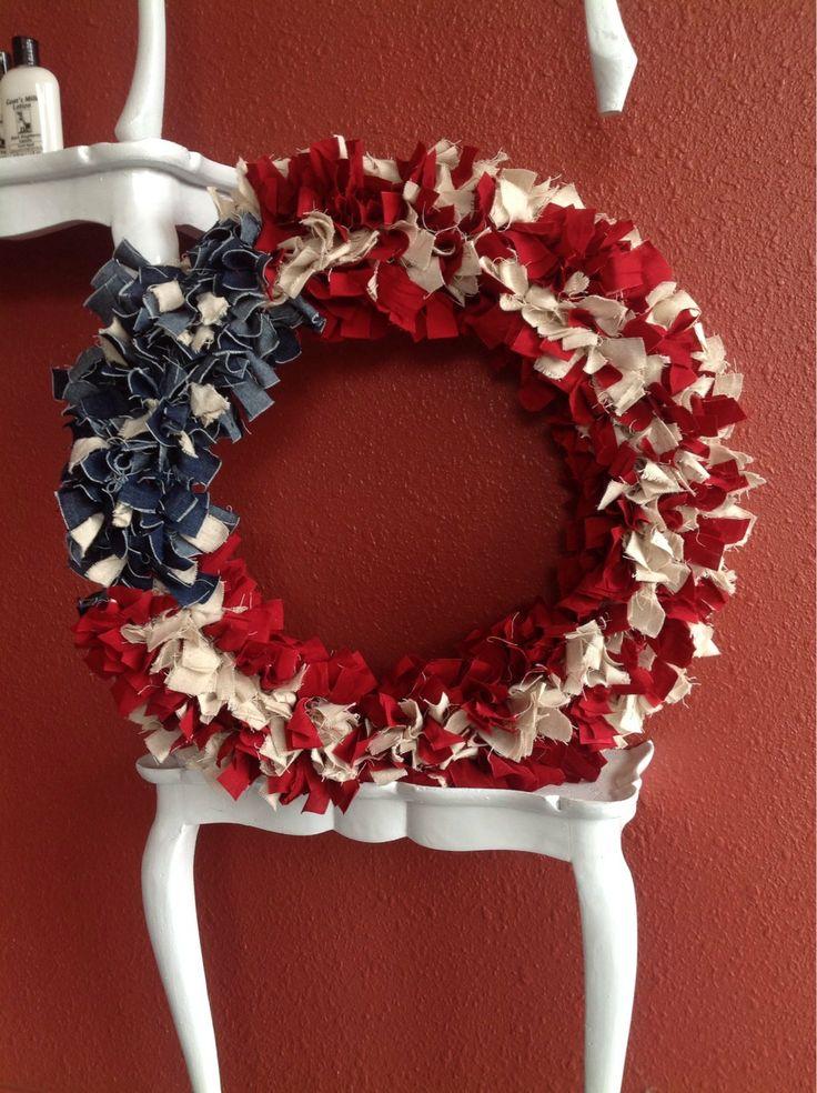 American Flag Rag Wreath by LandonAvenueDesign on Etsy, $35.00