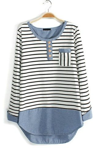 Contrast Striped Long Sleeve Tee - OASAP.com