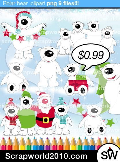 Cute polar bear family clipart. Christmas time. Includes bears family, christmas tree and banner. Best for you, $0.99 original graphics