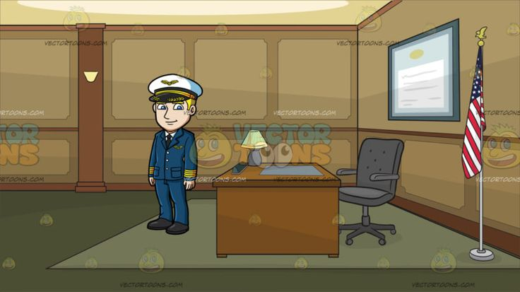 A Handsome Pilot At A Government Office :  A man with blonde hair wearing a white with black and gold pilot hat dark teal blue with gold pilot suit white dress shirt with black necktie and shoes smirks while looking ahead. Set in a room with brown and beige walls moss green floor with carpet a brown desk with a table lamp gray mat and swivel chair a flag of the united states in a silver pole is placed in the corner and a big blue rectangular certificate frame hangs on the center wall.