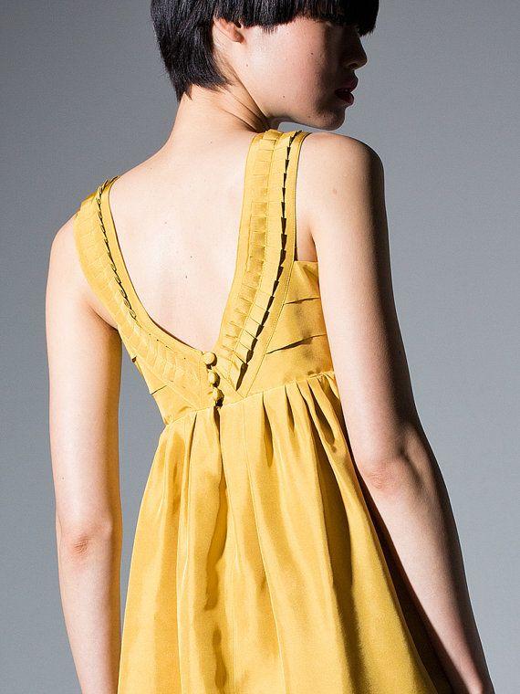 Silk taffeta Dress  Mustard yellow // Sleeveless by DRESSbyEnlee