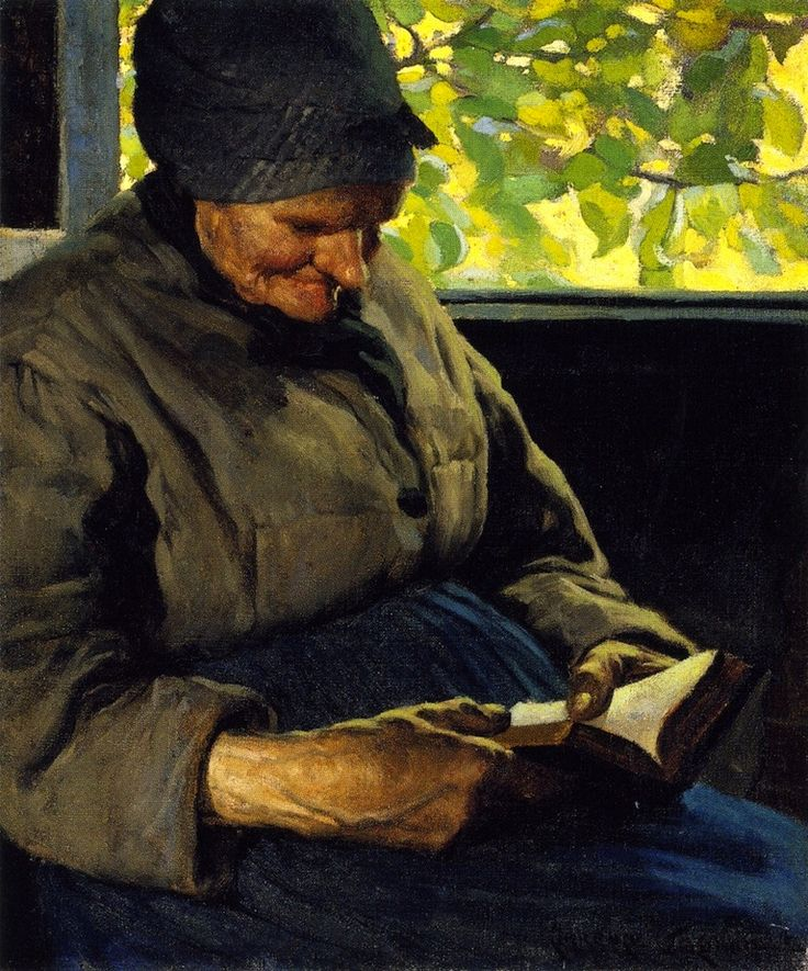 Old Woman Reading , 1904 , by Clarence Gagnon