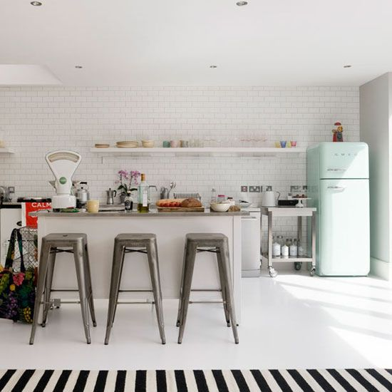 tolex stools + smeg fridge goodness in the book DECORATE by Holly Becker