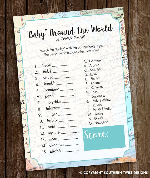 Travel Baby Shower Game  Baby Around the World by SouthernTwist1