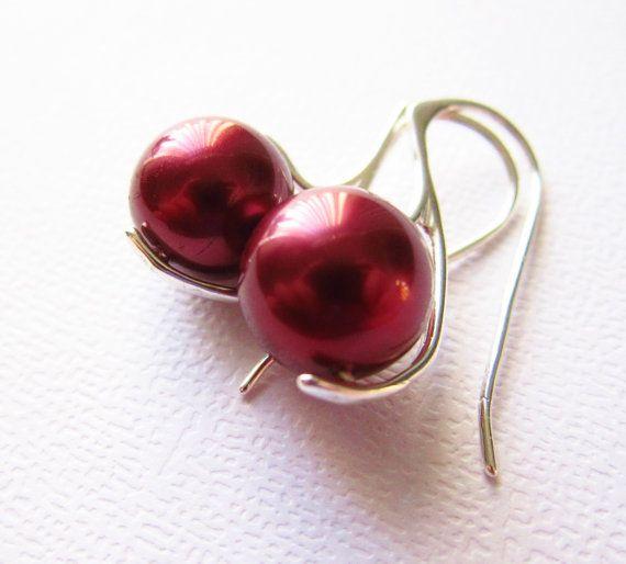 Crimson Tahitian Pearl Earrings South Sea Sterling by CuteJewels, $30.00