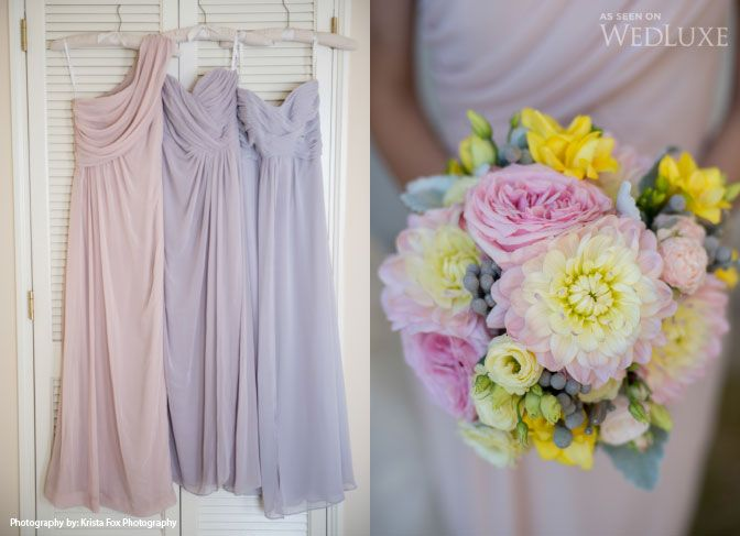 Bridesmaids dresses by The Dessy Collection via Ritché; image by Krista Fox Photography