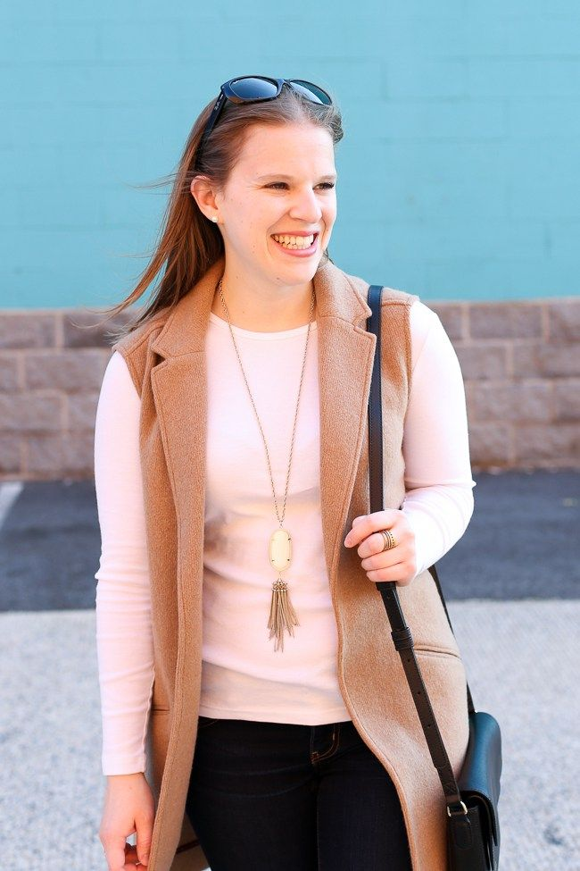 The Camel Blazer Vest | Something Good, kendra scott, rayne necklace, camel blazer vest, women, fashion, clothing, style, clothes, fall fashion, fall style, style, jeggings, denim, jeans, white long sleeve top, burgundy, cranberry, ankle boots, vera bradley