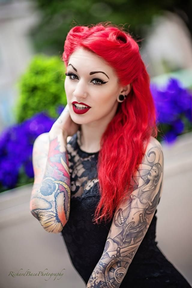 Ravishing Rockabilly Red Hair! :: Rockabilly Pin Up:: Winged Eye:: Red Lipstick:: Tattooed Pin Up