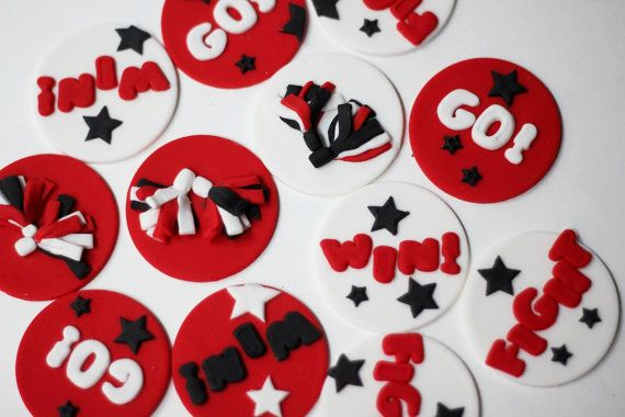 Fondant Cheer Cupcake Toppers Cheerleading by LesPopSweets