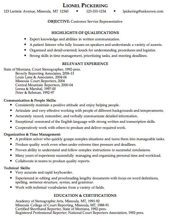free customer service resume samples   customer service representative free sample resume resume - Free Movie ...