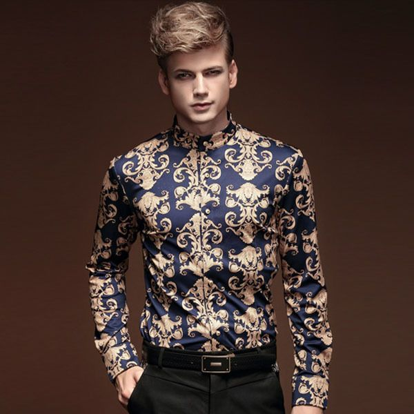FanZhuan Free shipping new male 2015 autumn and winter men clothes baroque style long-sleeved men casual men shirt personality