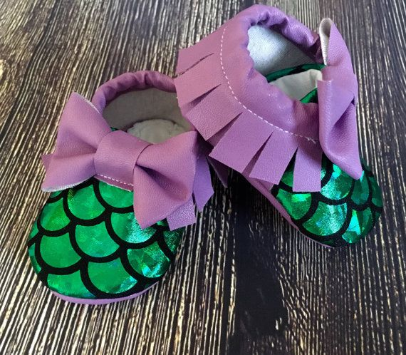 Baby girl mermaid shoes, baby girl moccs, baby girl moccasins, crib shoes, newborn girl shoes, mermaid birthday outfit, purple baby moccs