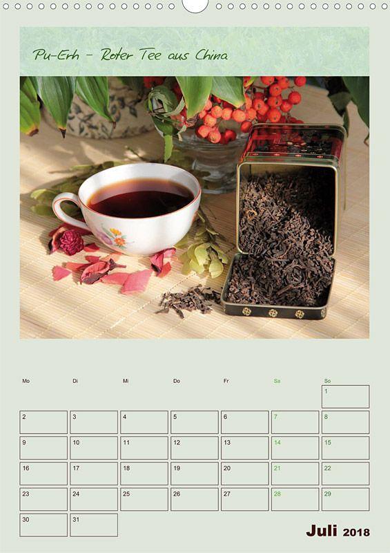 """Küchenkalender mit Planer """"Meine Welt des Tees"""", Kalenderblatt Juli: Pu-Erh"""