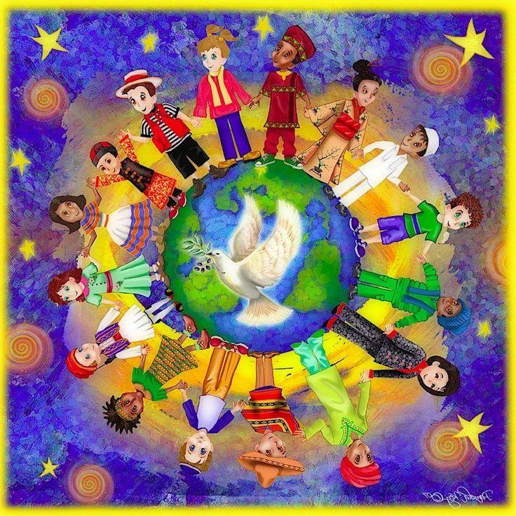 Нарисуй открытку изобрази на ней что мир людей един