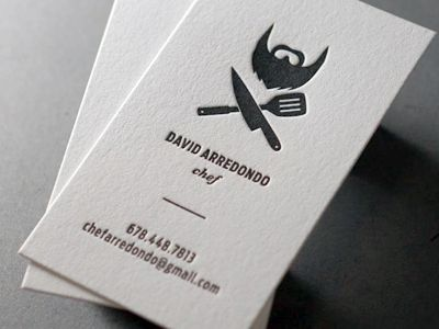This beard made us think of Batman at first! An interesting use of white space. [biz card / David Arredondo Chef]