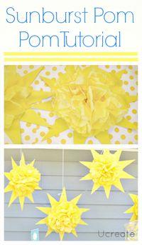Sunburst Pom Pom Tutorial - You are my Sunshine Theme