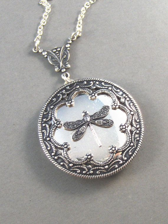 Duchess,Silver Dragonfly Locket,Wings,Antiqued,Charm,Flying,Summer,Vintage Style. Handmade jewelery by Valleygirldesigns.