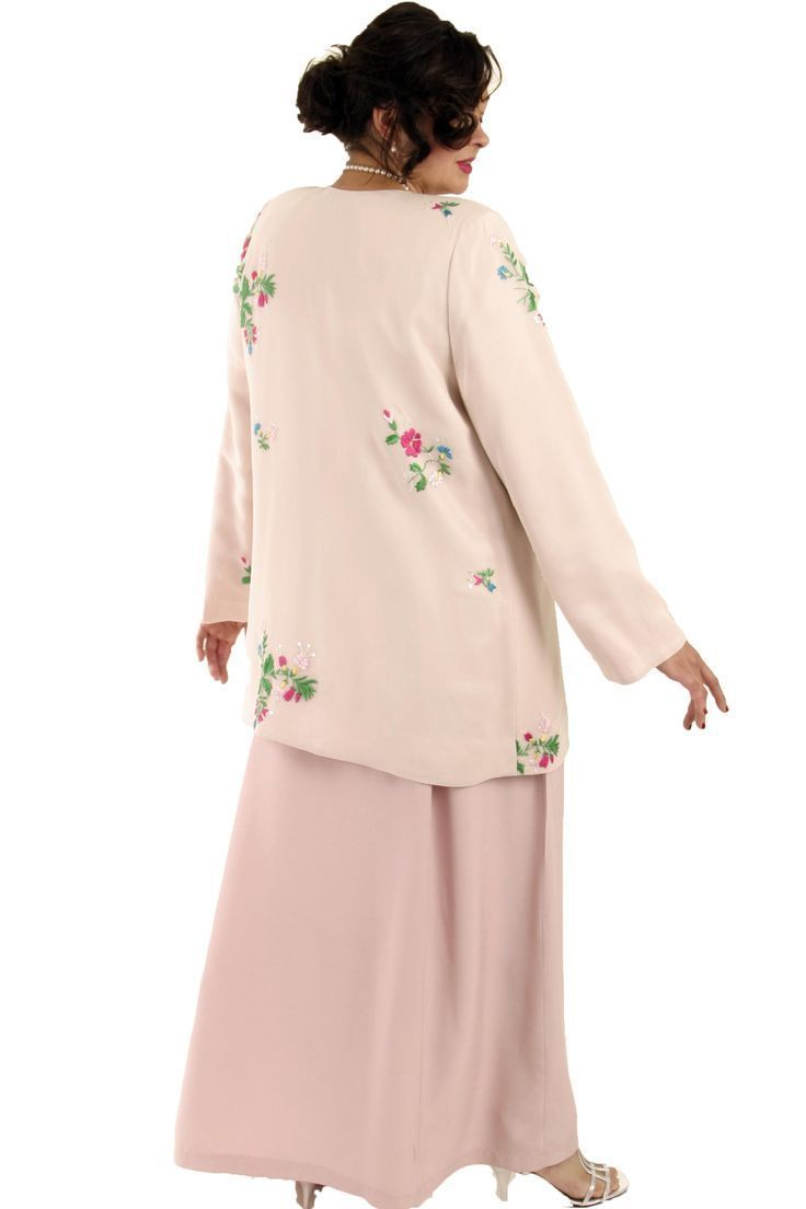 Mother dresses wedding plus size  Plus Size Mother of Bride Jacket Floral Embroidered Silk Pink