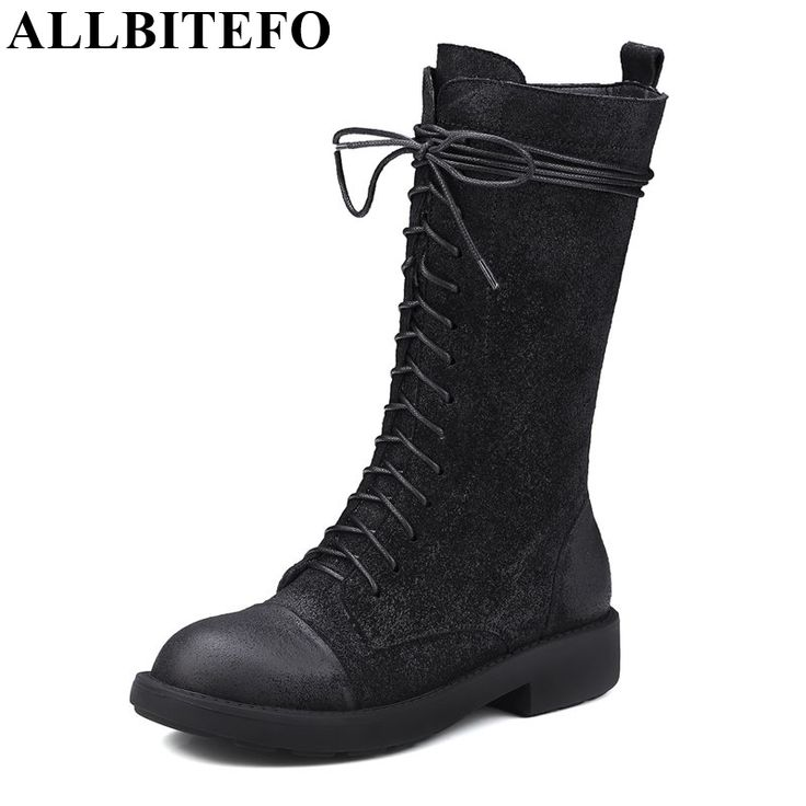 66.14$  Buy here  - ALLBITEFO Genuine leather round toe knot fashion brand Mid-Calf women boots Low-heeled winter snow boots knight botas femininas