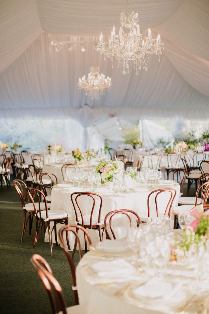 Lovely Mix of Wooden Chairs and White on White Elegance | See the wedding on SMP: http://www.StyleMePretty.com/2013/08/20/private-estate-farm-wedding-from-brilliant-event-planning/  Daniel J Photography