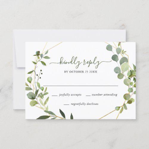 Modern Eucalyptus Geometric Frame Wedding Rsvp Card Zazzle Com In 2020 Rsvp Wedding Cards Rsvp Card Wedding Rsvp