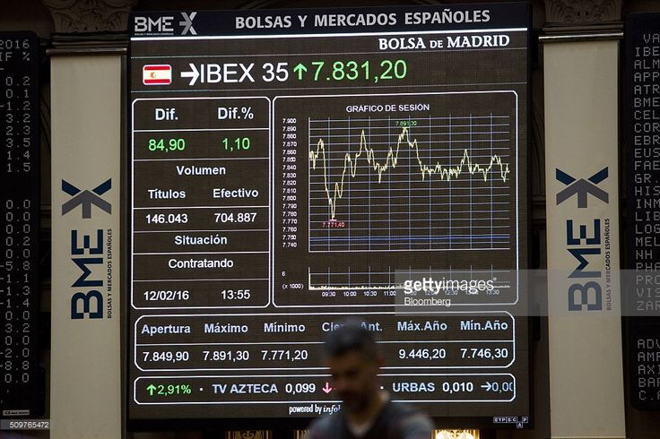 An electronic chart shows the performance of the Ibex 35 index during the last twelve months at the Madrid stock exchange, also known as Bolsas y Mercados Espanoles, in Madrid, Spain, on Friday, Feb. 12, 2016. A rebound in banks helped lift European stocks from their lowest levels since 2013, trimming a second weekly decline. Photographer: Antonio Heredia/Bloomberg via Getty Images