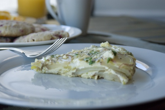 Potato, leek, and goat cheese frittata. Oh, excuse me, I'm drooling ...