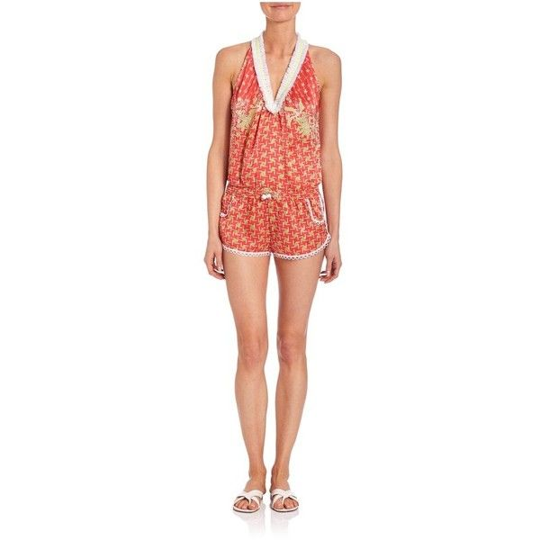 Poupette St. Barth Beline Printed Short Jumpsuit ($146) ❤ liked on Polyvore featuring jumpsuits, coral lime, rompers, jump suit, drawstring jumpsuit, romper jumpsuit, red jump suit and coral jumpsuit