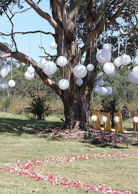 Déco d'arbres  avec nos lampions #lampions #mariage http://www.mariageenvogue.fr/s/31835_lanternes-en-papier