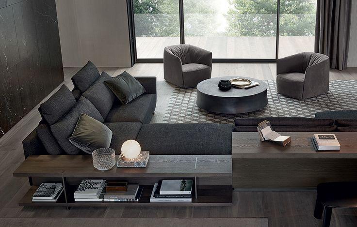 Poliform Bristol sofa. Dark grey fabric with medium grey velvet pillow. love.
