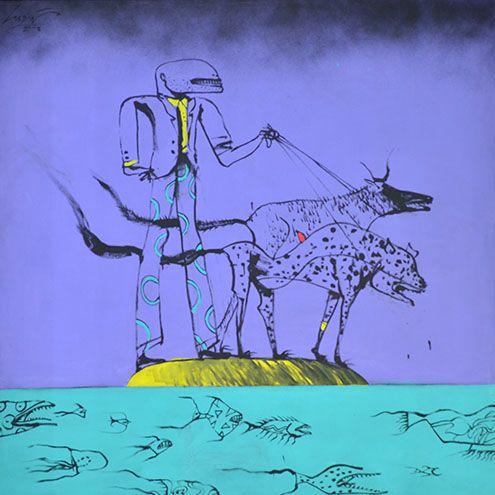 Serie memorias del mar,  Tres náufragos.  150 x 150 cm
