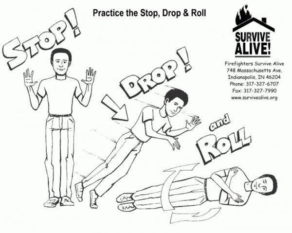 stop drop and roll coloring page - stop drop and roll pages coloring pages