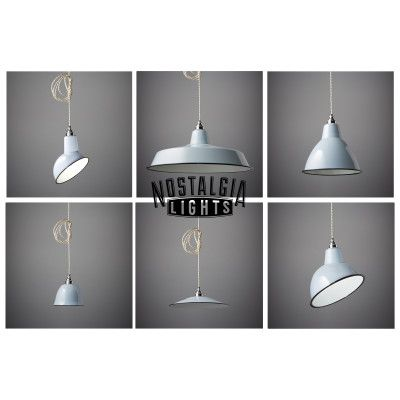 Nostalgia Lights Enamel Pendant Shade in grey, from Nook