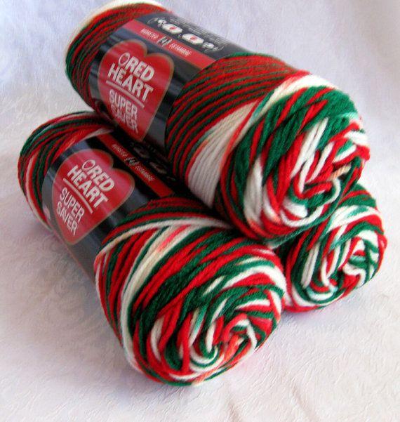 Navidad del hilado, hilo blanco del verde rojo de rojo corazón Super Saver hilado, MUÉRDAGO, 979, peso peinada