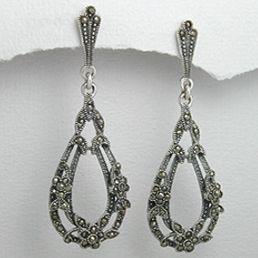 Cercei vintage lungi - bijuterii din argint 925 cu marcasite. http://www.argintarie.ro/Cercei-din-argint-cu-marcasite-lungi-p-17088-c-0-p.html