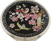 Mother of Pearl Makeup Mirror cherry blossoms Flower Design Cosmetic Handbag Purse Compact hand porcket Mirror