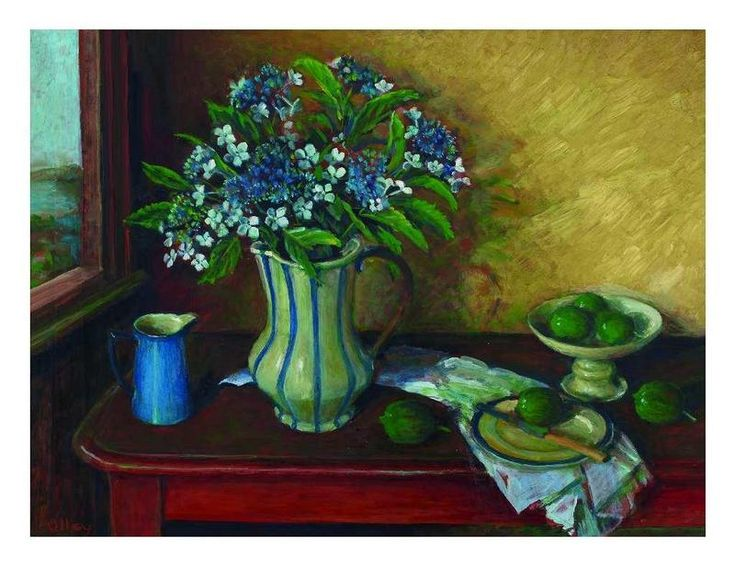 Still Life with Hydrangeas and Fruit, C.1999,  Margret OLLEY