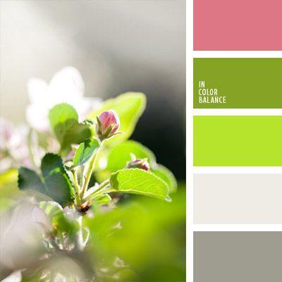 combinación de colores para decoración, de color verde lechuga, elección del color, gris, matices de color gris, paleta de colores para primavera, paleta primaveral, rosado y verde, tonos verdes, verde, verde lechuga vivo, verde lechuga y rosado, verde y gris.