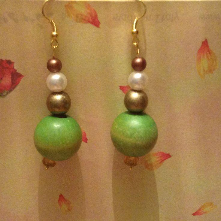Orecchini pendenti con perle Verde e bronzo : Orecchini di blanka-artigianatoresistente
