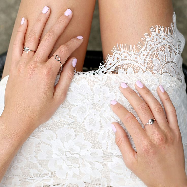 Shop @ http://bb.com.au white lace, fine jewellery, lace skirt, silver rings, pink nails