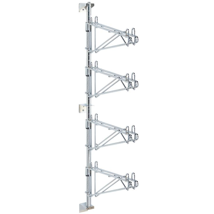 """Use this Metro AW56C post-type wall mount mid unit to create a shelving system on your walls for ideal space utilization. The pre-packaged mid unit consists of one post with wall mounting brackets and four chrome-plated double shelf supports, one per tier. The AW56C wall mount mid unit accommodates four 24"""" deep shelves. Shelves, wall bolts, and screws are sold separately."""