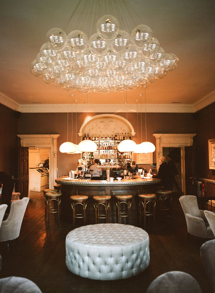The Babington House Bar, site of parties before, during and after this wedding.  (c) Aaron Delesie