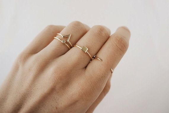 Gold stacking rings, delicate rings, stack rings, stacking ring set, stackable rings