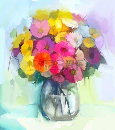Stilleven van gele en rode gerbera bloemen Olieverf schilderij van een boeket bloemen in de vaas De  Stockfoto