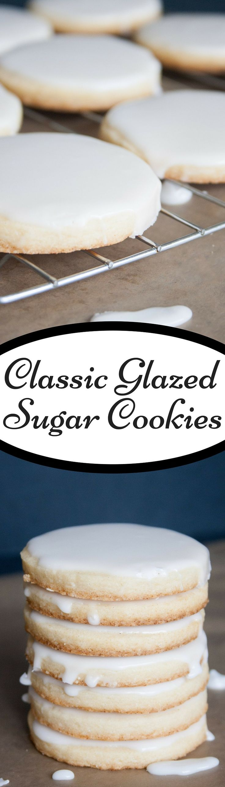 Classic Glazed Sugar Cookies.  Soft and thick sugar cookies topped with a glaze that gardens and stays shiny.  Melt in your mouth delicious and seriously the best sugar cookies you'll ever have!