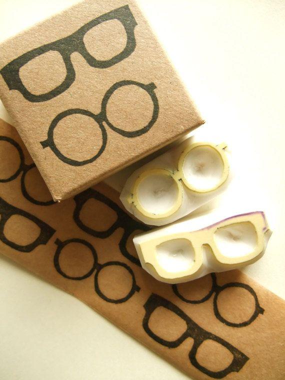 Eye glasses rubber stamps. eyewear hand carved stamps. mr&mrs stamps. diy…